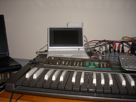 Detail of studio showing Korg and Eee